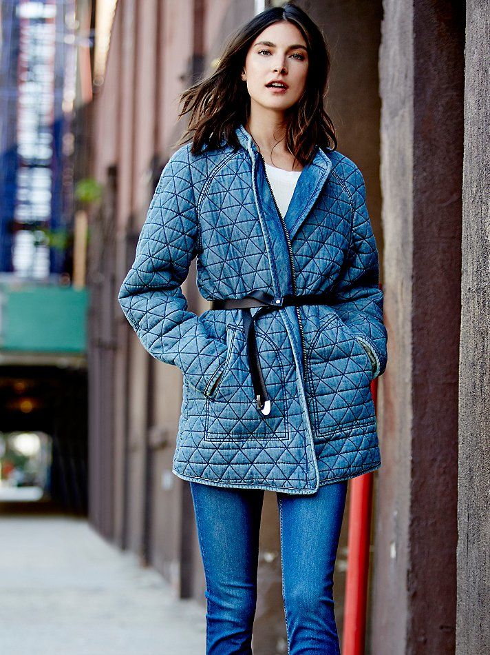 Free People Womens Chambray Quilted Jacket in Blue - Lyst