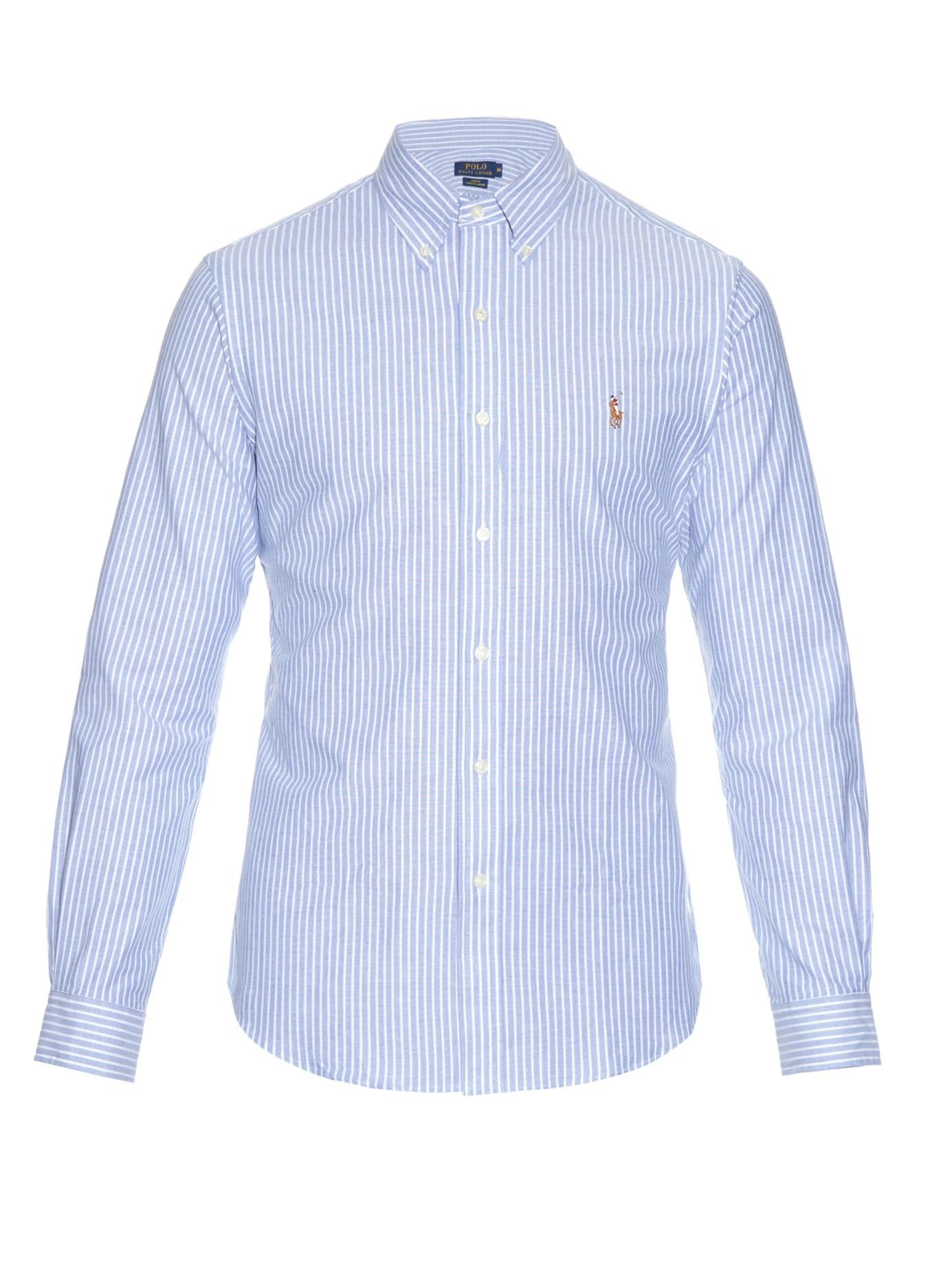 Polo Ralph Lauren Striped Cotton Oxford Blend Shirt In Blue For Men Lyst