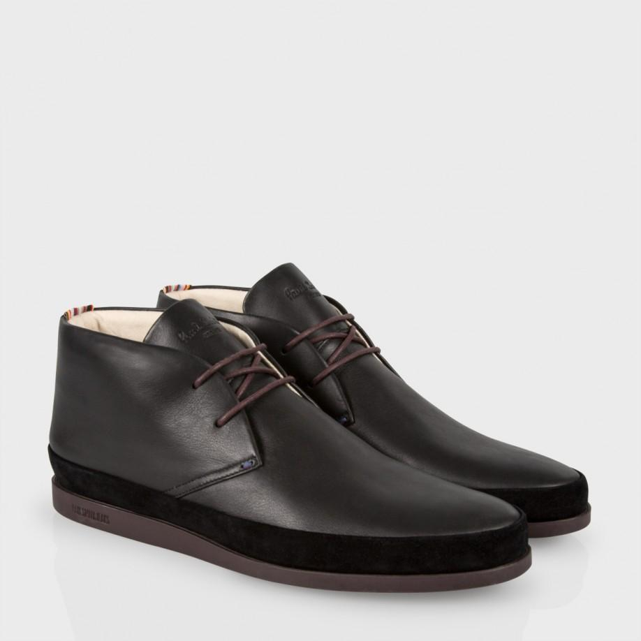 c277c770648 Paul Smith Men'S Black Leather 'Loomis' Chukka Boots With Damson Soles for  men