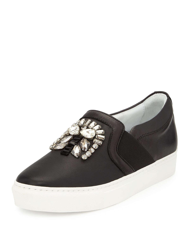 Lyst Lanvin Crystal Embellished Skate Sneakers In Black