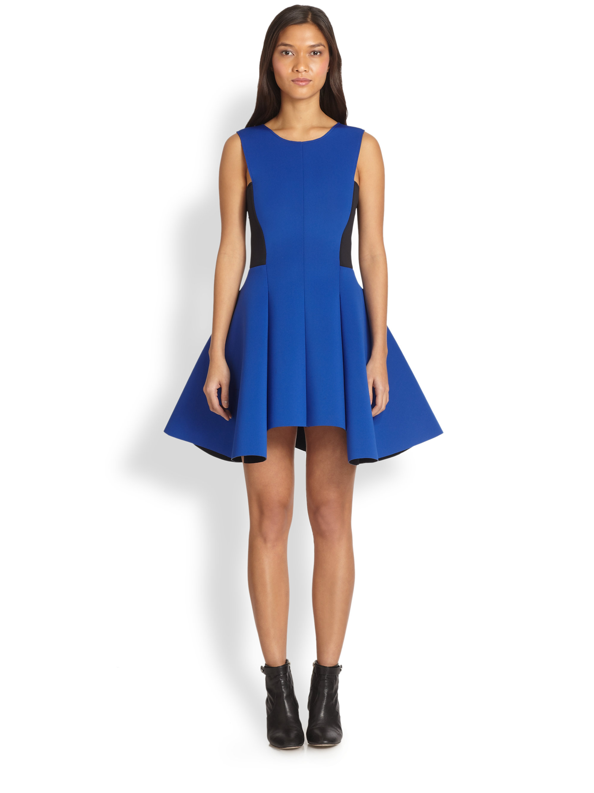 Dkny Runway Fitandflare Dress In Blue Lyst