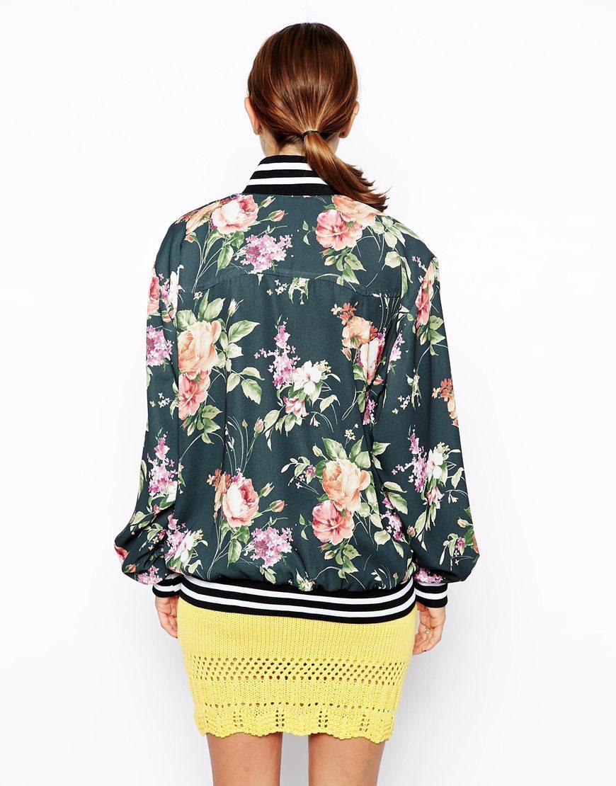 Asos Reclaimed Vintage Floral Crepe Bomber Jacket | Lyst