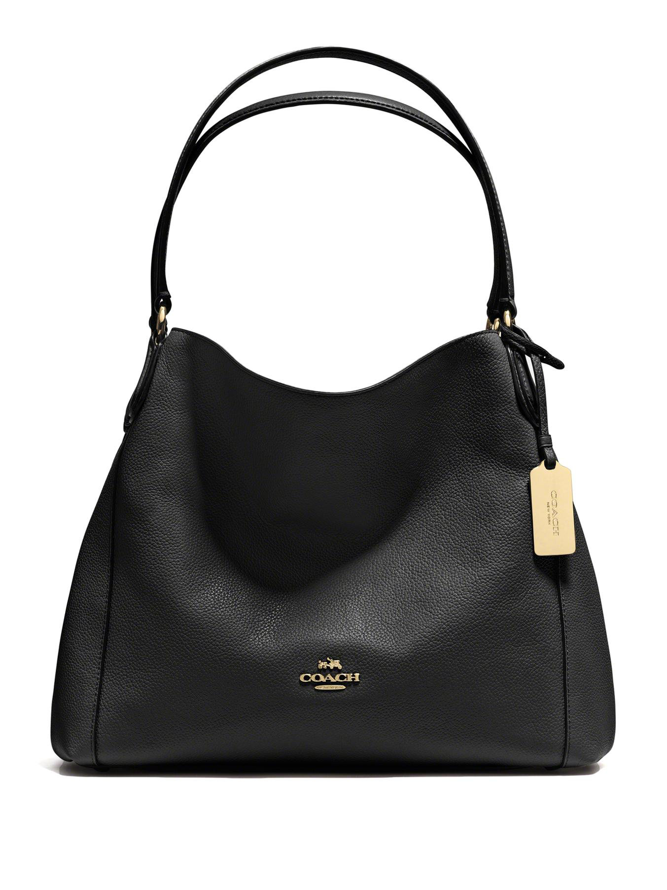 Coach Edie Pebbled Leather Shoulder Bag in Black | Lyst