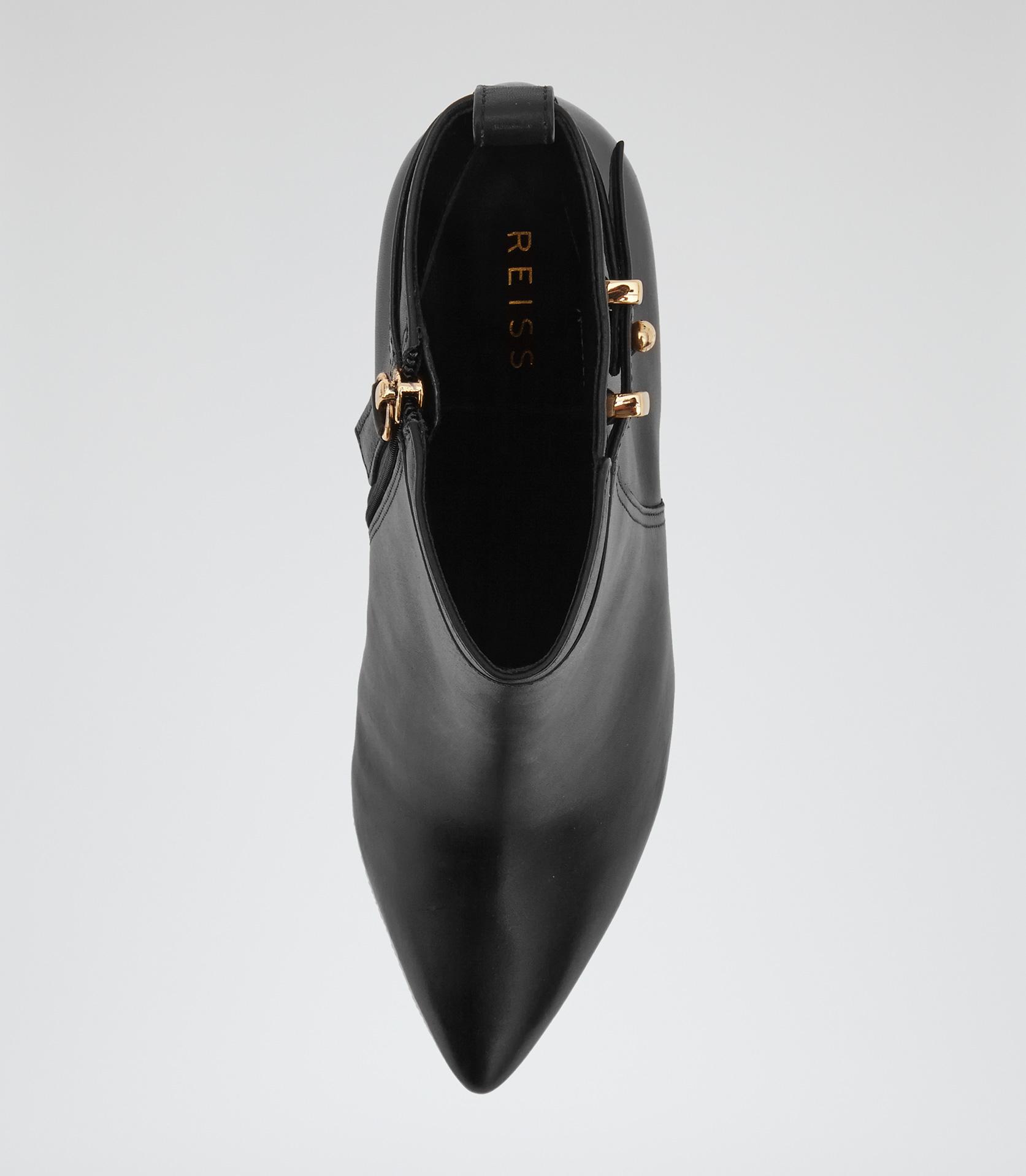 Reiss Bueller Low Heel Ankle Boots in Black