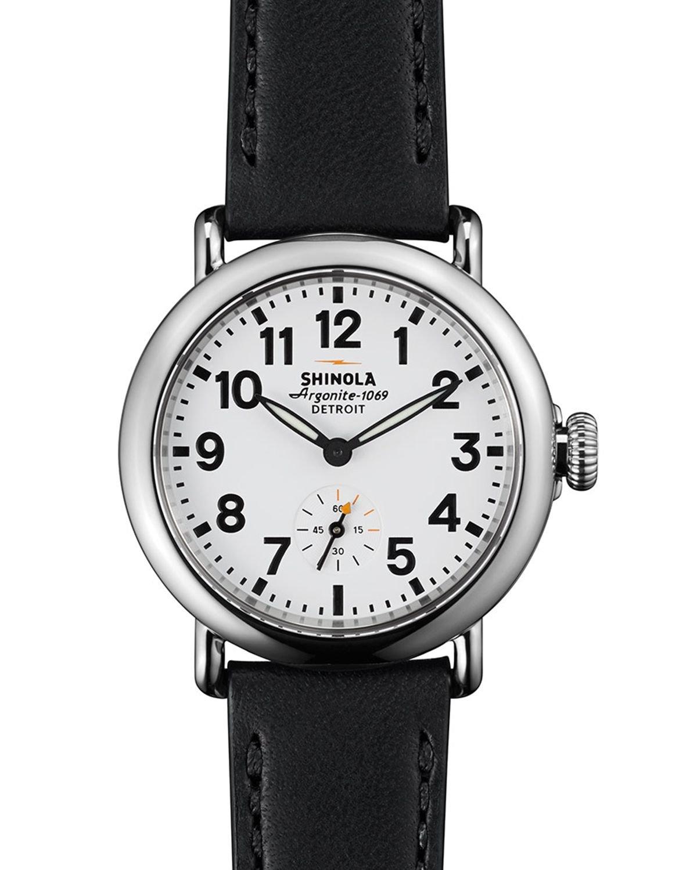 Shinola the runwell watch 36mm in silver gunmetal lyst for Shinola watches