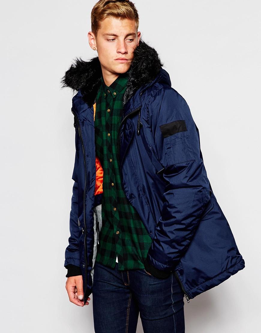 D-struct Coulton Fur Trimmed Parka Jacket in Blue for Men | Lyst