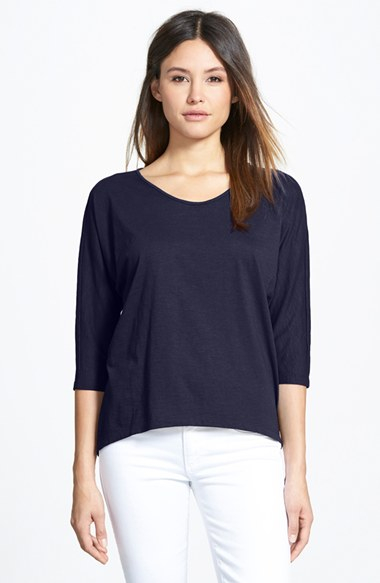 Eileen fisher rounded v neck organic cotton tee in blue lyst for Eileen fisher organic cotton t shirt
