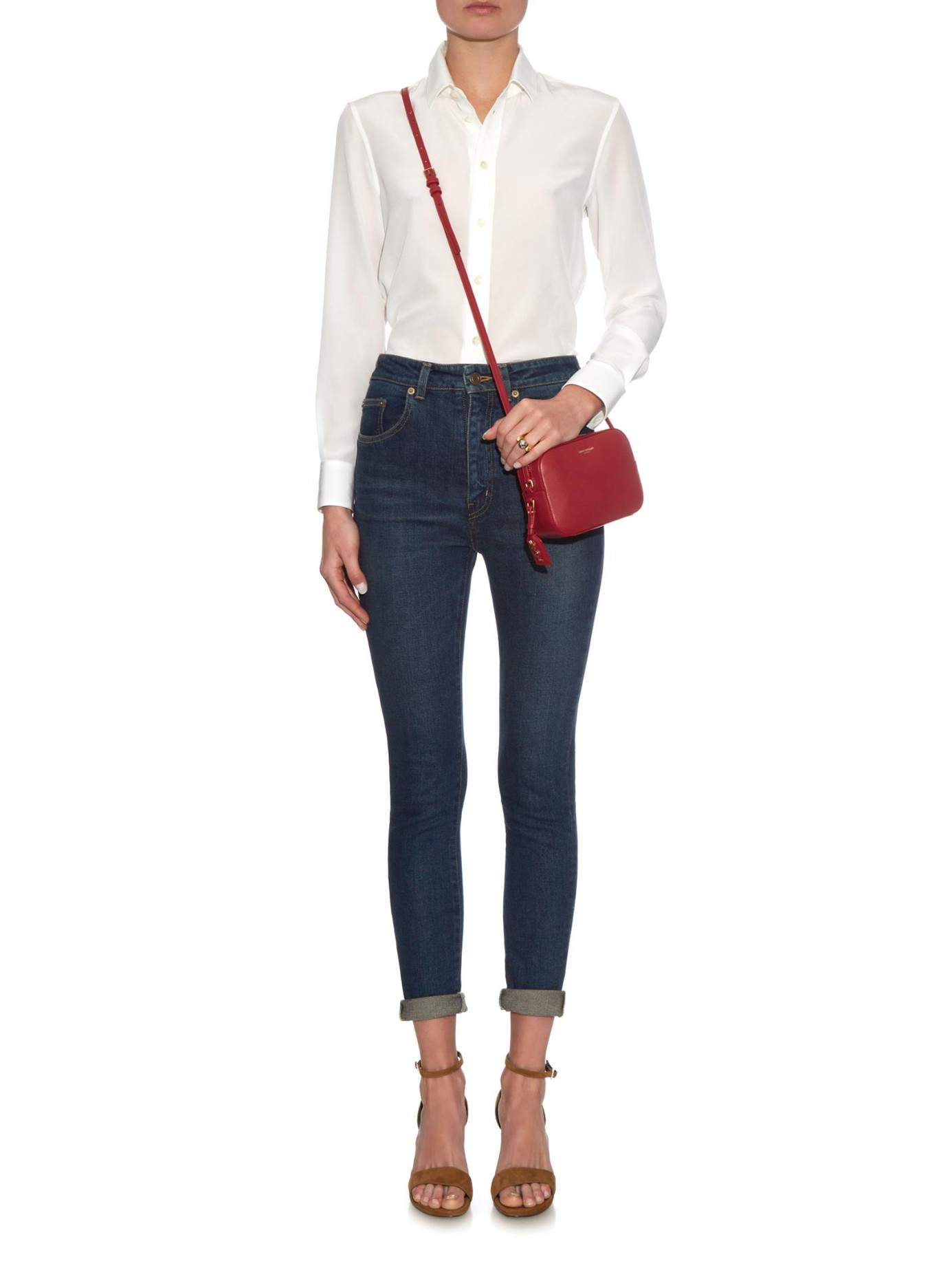 9eea09a85b Saint Laurent Monogram Small Leather Cross-body Bag in Red - Lyst