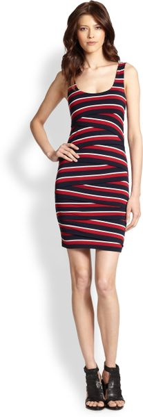 Bailey 44 Tiered Stripe Bodycon Dress In Red Lyst