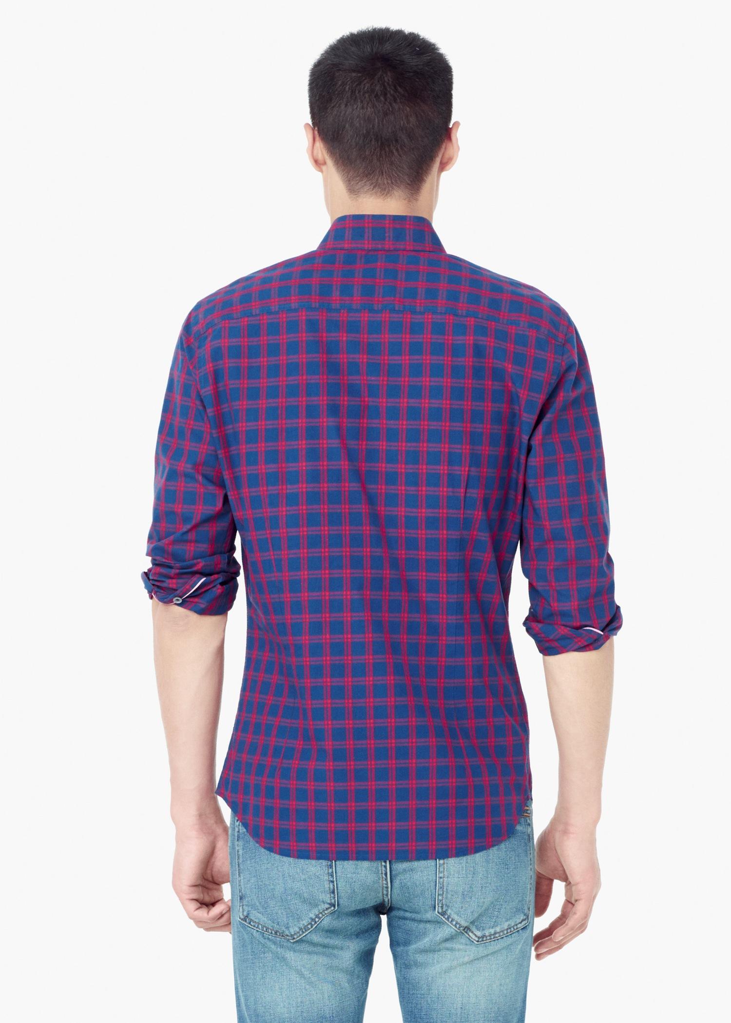 Lyst mango slim fit check cotton shirt in blue for men for Slim fit cotton shirts