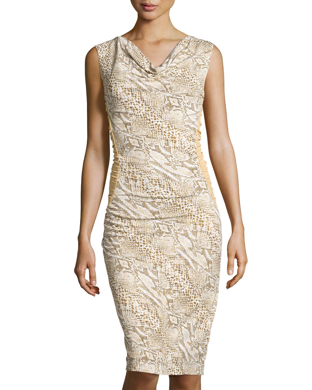 Cowl Neck Sheath Dresses: ESCADA Cowl-Neck Python-Print Sheath Dress In Natural