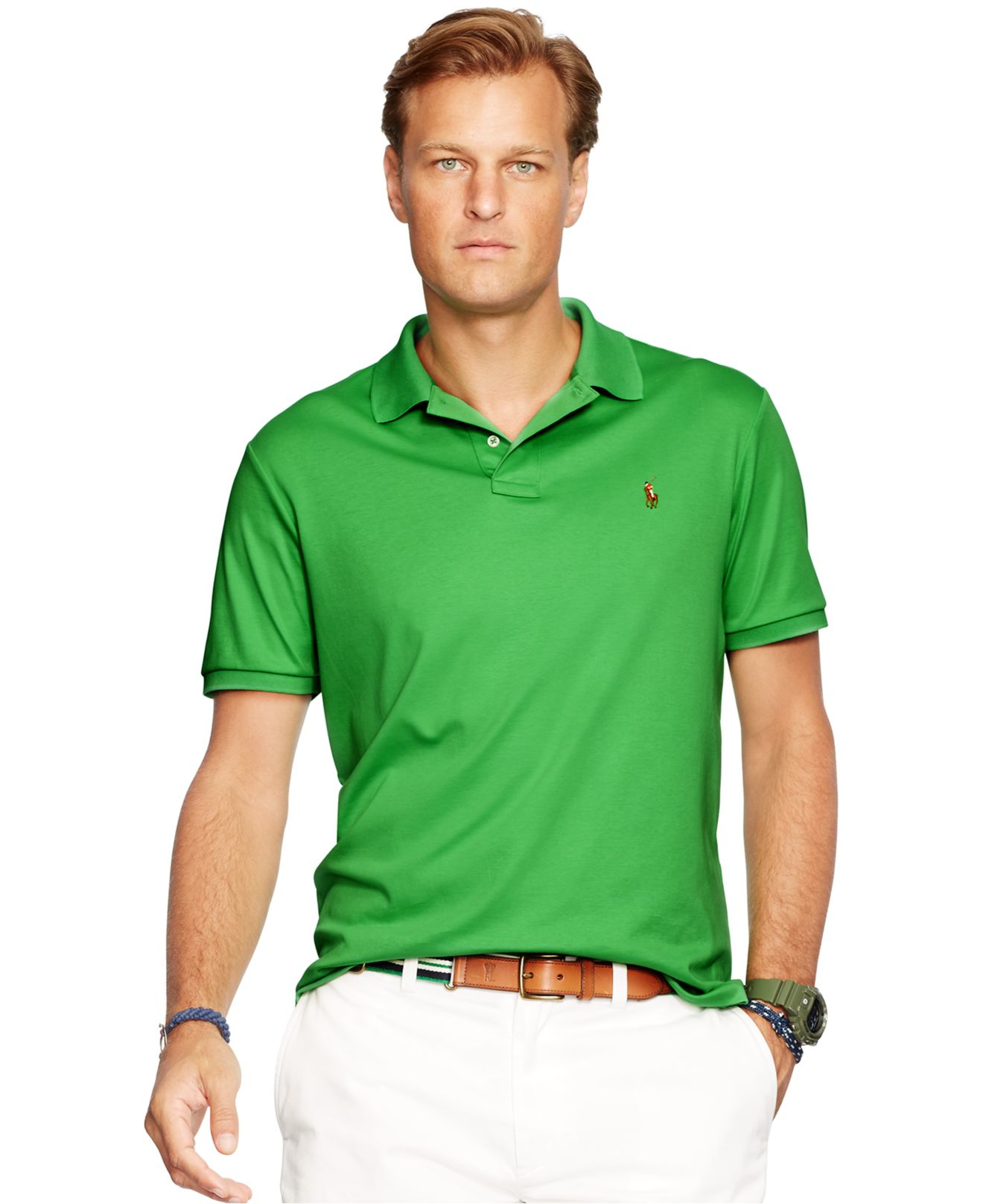 Polo ralph lauren big tall pima soft touch polo shirt in for Mens lime green polo shirt