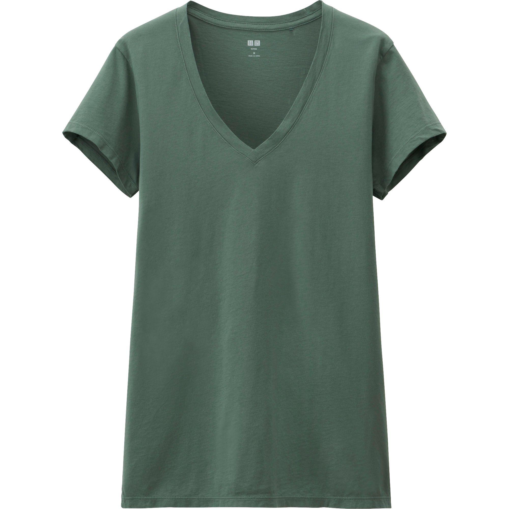 Uniqlo Women Supima Cotton Washed V Neck Short Sleeve T