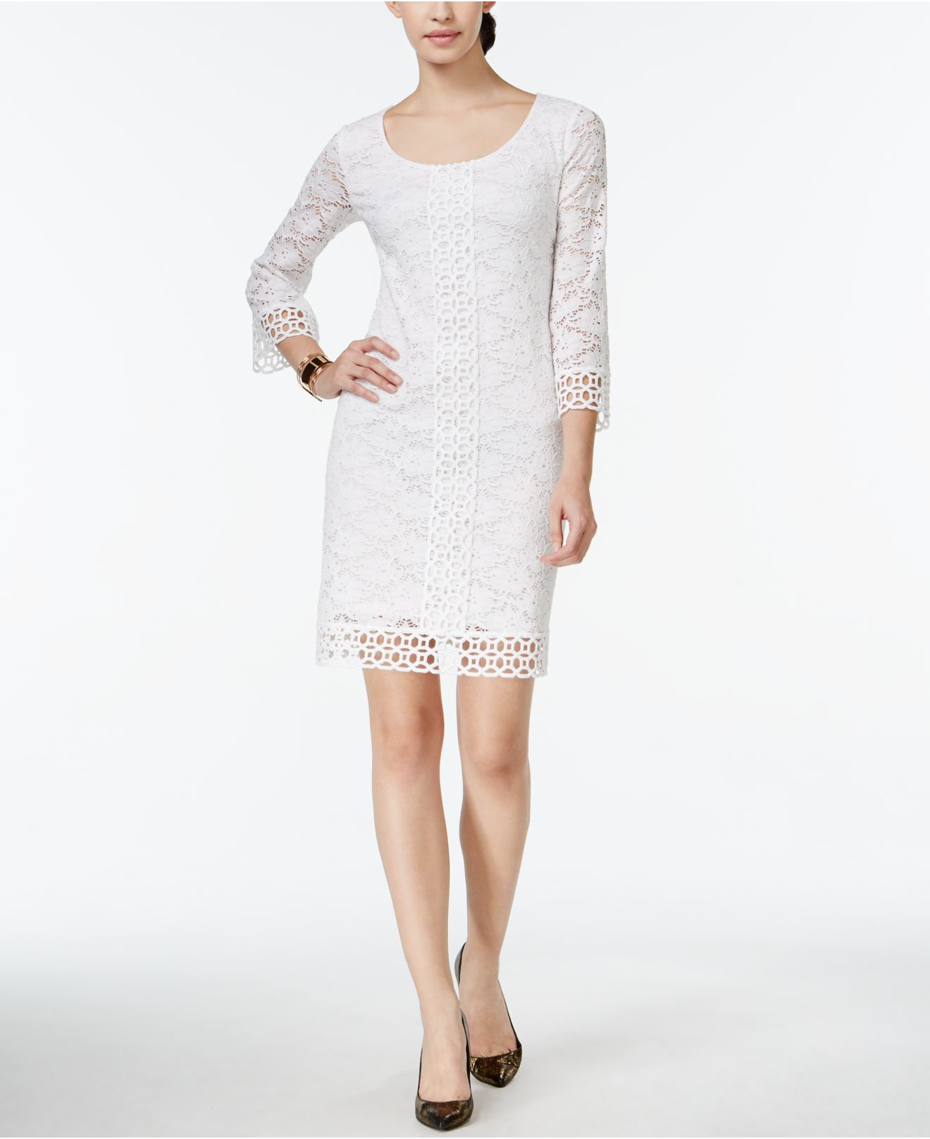 Lyst - Alfani Crochet-lace Shift Dress, Only At Macy's in ...