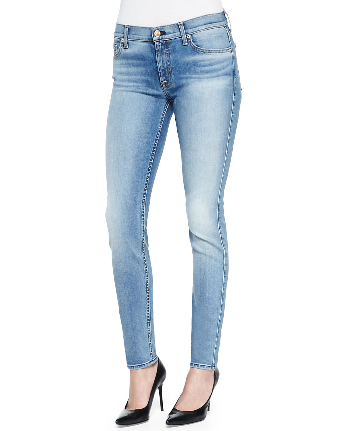 7 for all mankind slim illusion skinny jeans w contouring in blue lyst. Black Bedroom Furniture Sets. Home Design Ideas