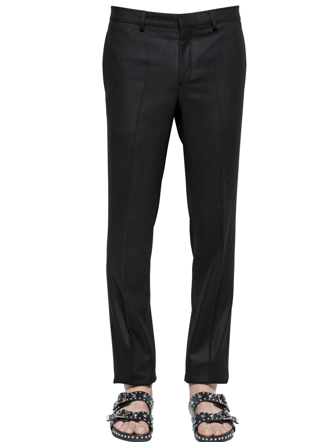 Givenchy 19cm slim fit wool flannel pants in black for men for Women s slim fit flannel shirt