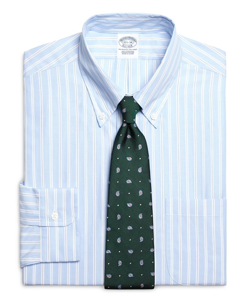 Lyst brooks brothers slim fit split stripe dress shirt for Brooks brothers dress shirt fit