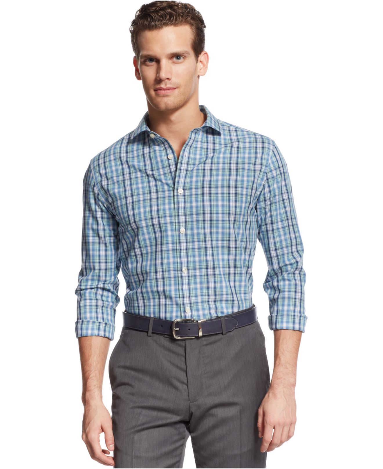 Tommy Hilfiger Non Iron Tumbleweed Plaid Custom Fit Shirt