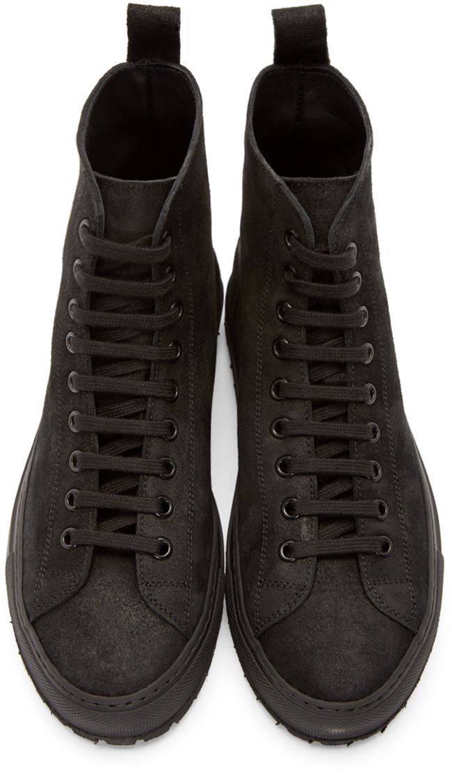 86794dd55a49 Common Projects Tournament Suede High-Top Sneakers in Black - Lyst
