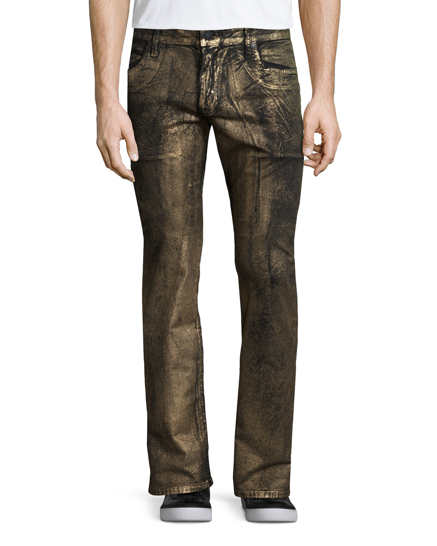 Robin's jean Gold-coated Studded Pocket Denim Jeans in ...