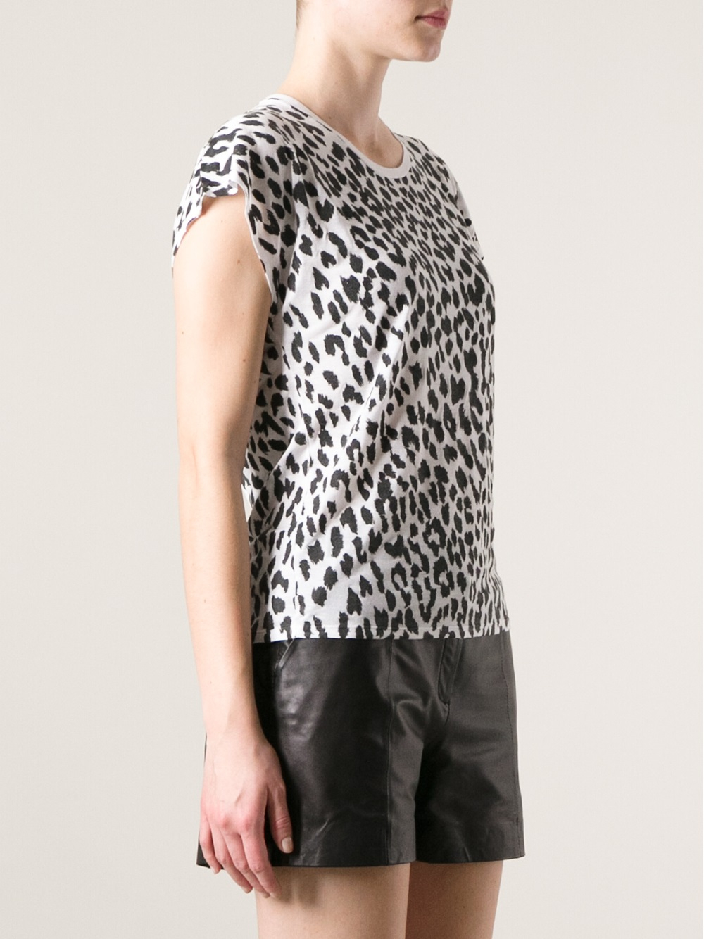 saint laurent leopard print t shirt in black lyst. Black Bedroom Furniture Sets. Home Design Ideas