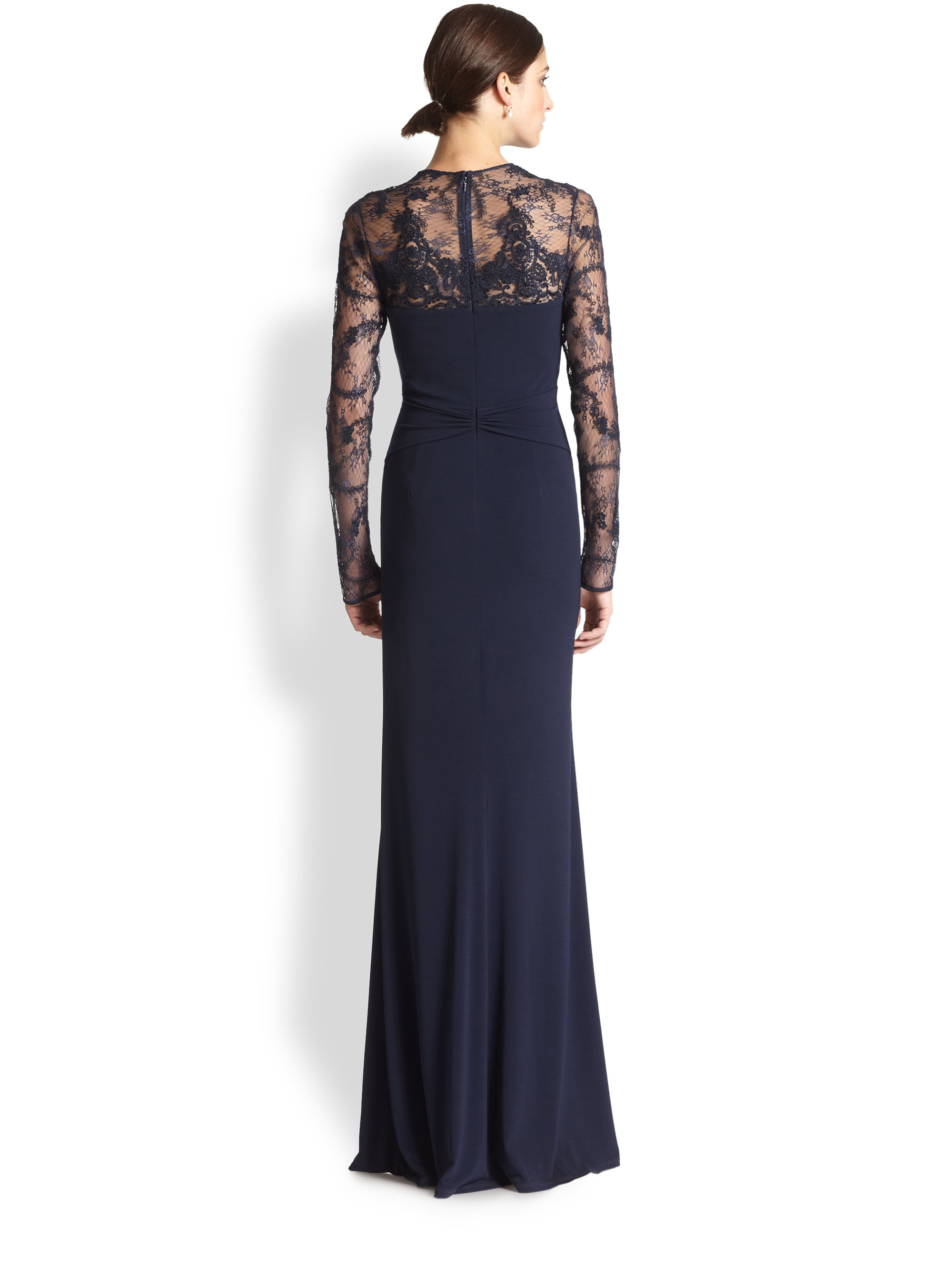 David Meister Lace Insert Gown In Navy Blue Lyst