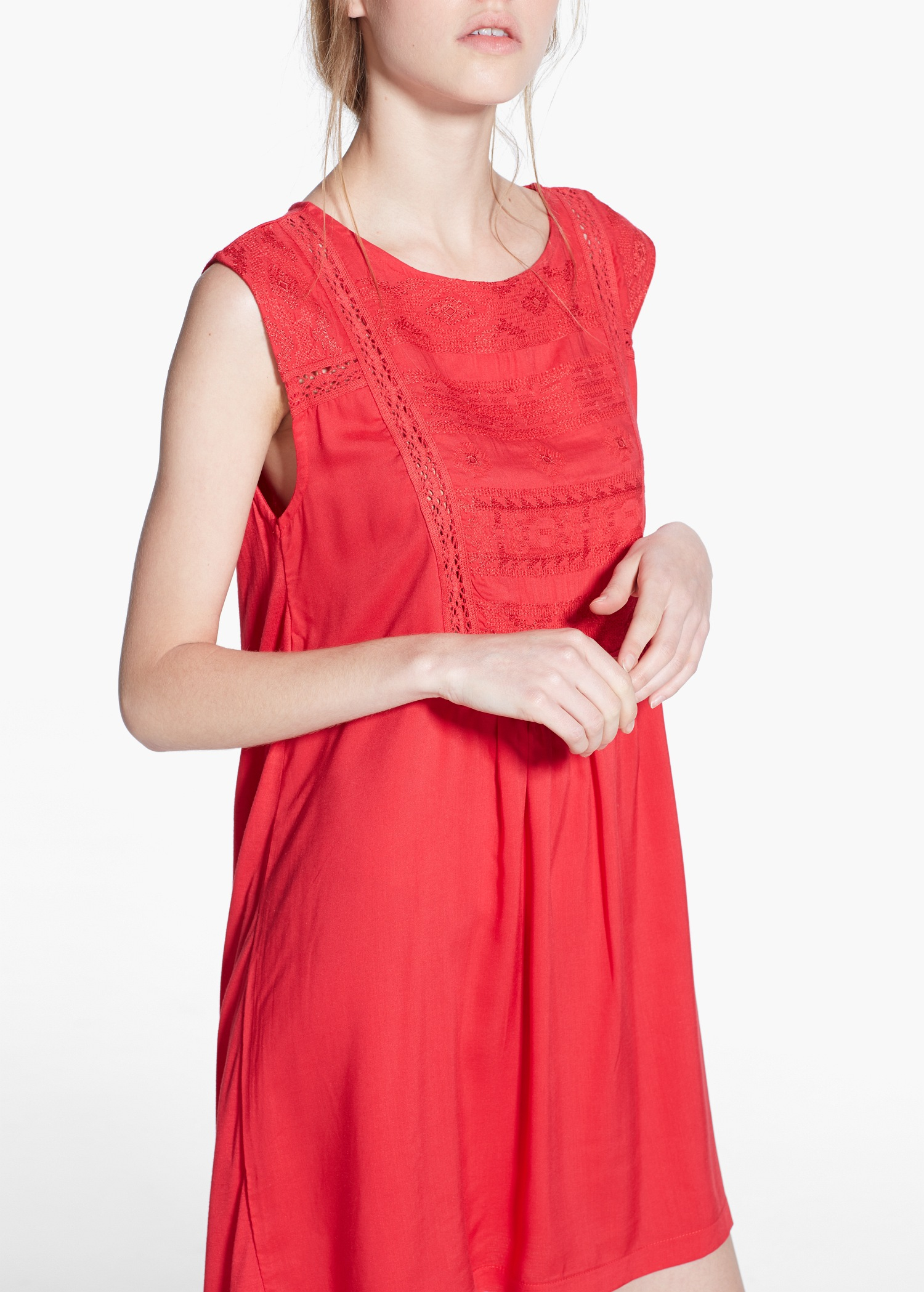 Lyst mango embroidered panel dress in red