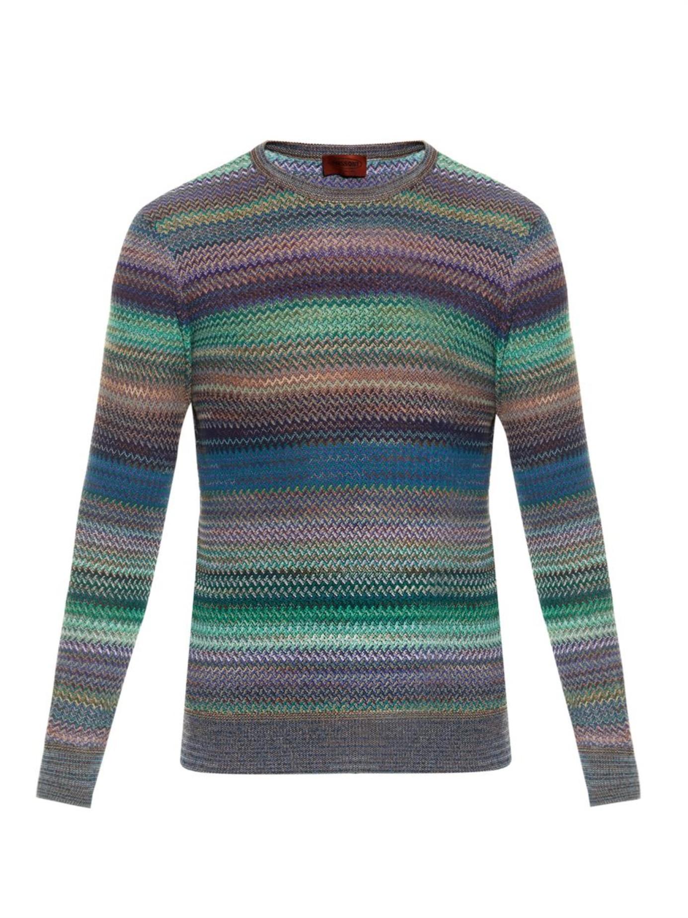Knit Sweater With Zig Zag Pattern : Missoni zigzag crochet knit sweater in multicolor for men