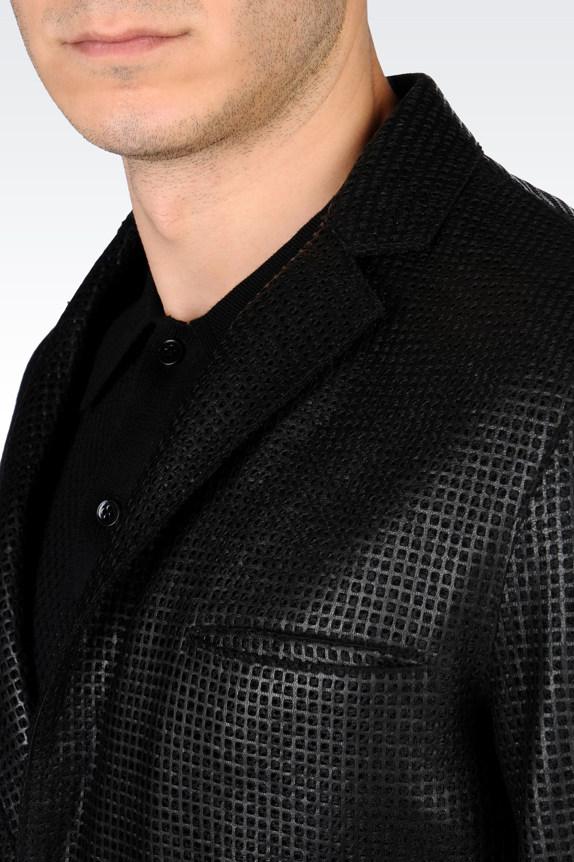 d1963fe49 Emporio Armani Black Singlebreasted Jacket in Perforated Nappa Leather for  men