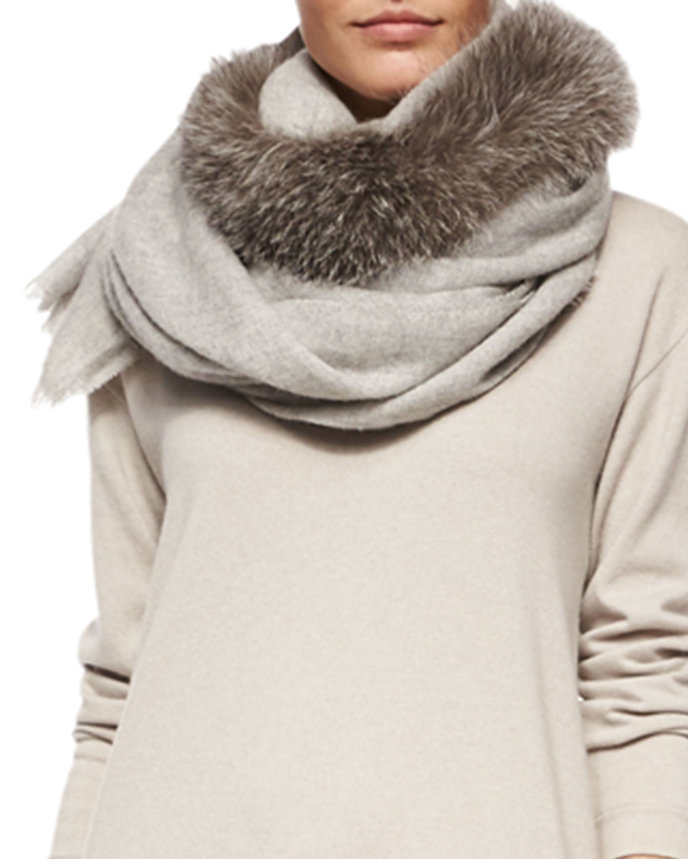 Brunello Cucinelli Fox Fur-Trimmed Cashmere Scarf In Brown