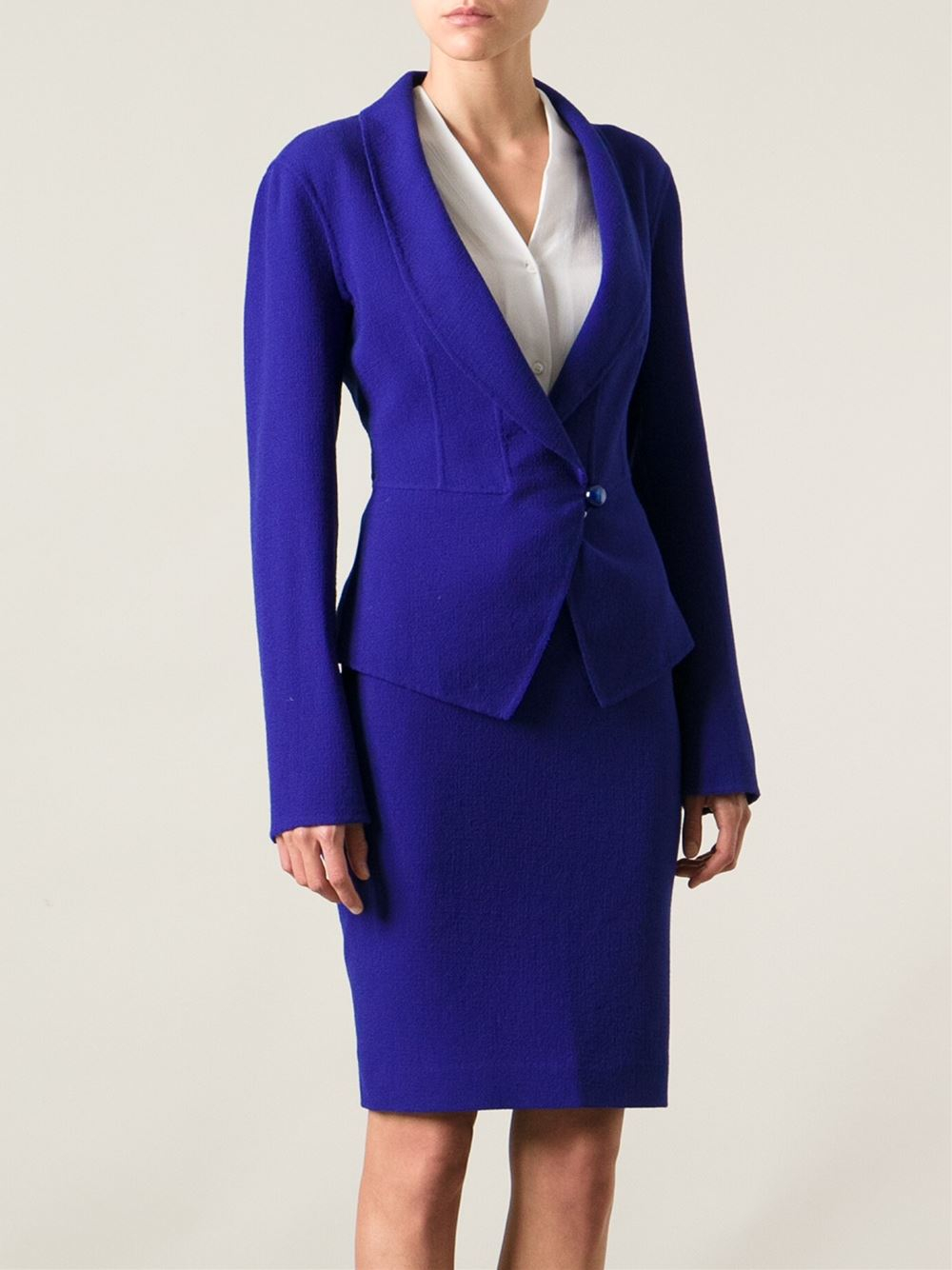 Armani Skirt Suit In Blue Lyst