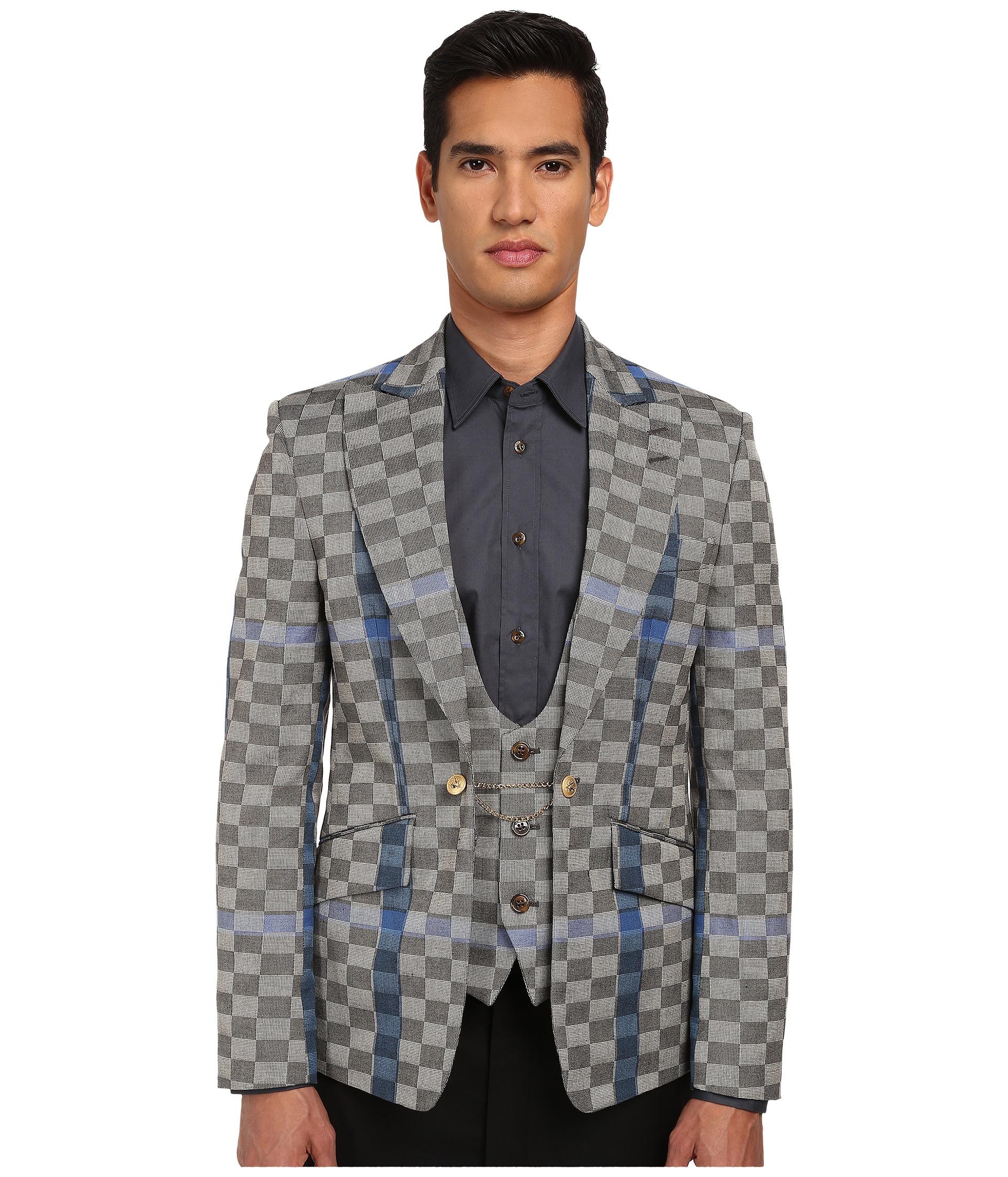 Basket Weave Vest Pattern : Vivienne westwood basket weave check waistcoat jacket in