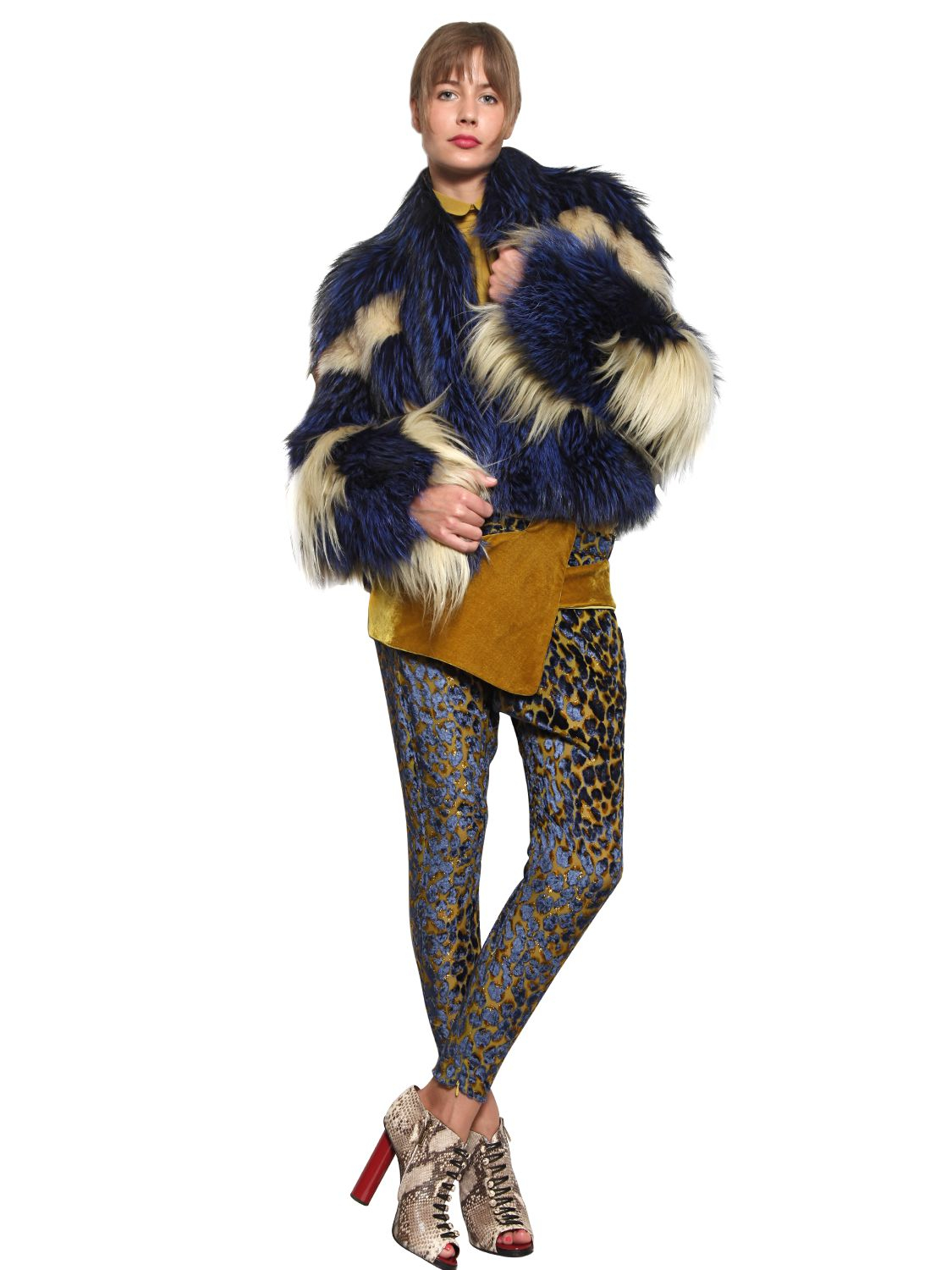 Just Cavalli Raccoon Silver Fox And Goat Fur Coat In Blue