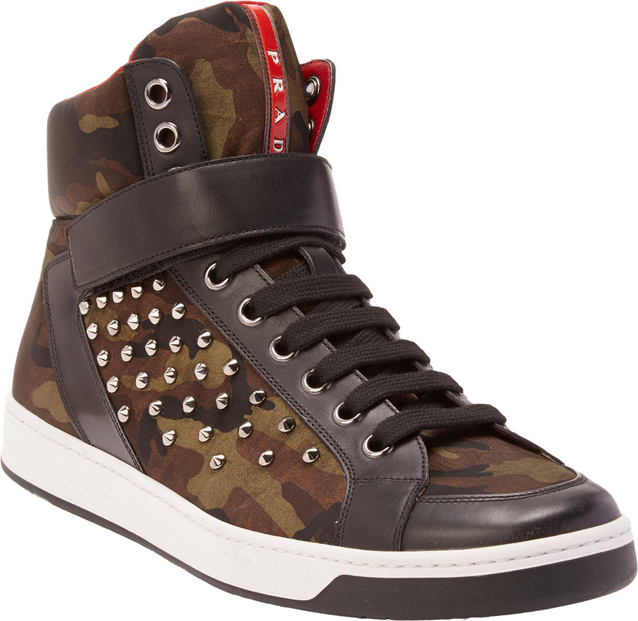 78d17f72 Prada Brown Studded Camo High-Top Sneakers for men