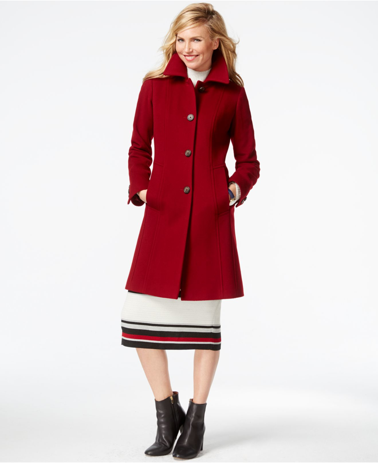 Anne klein Wool-cashmere Walker Coat in Red | Lyst