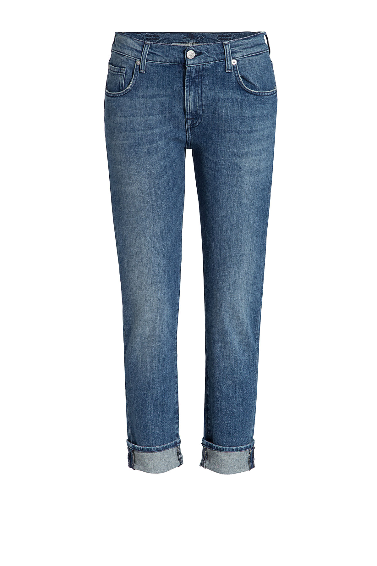 for all mankind cropped jeans blue in blue lyst. Black Bedroom Furniture Sets. Home Design Ideas