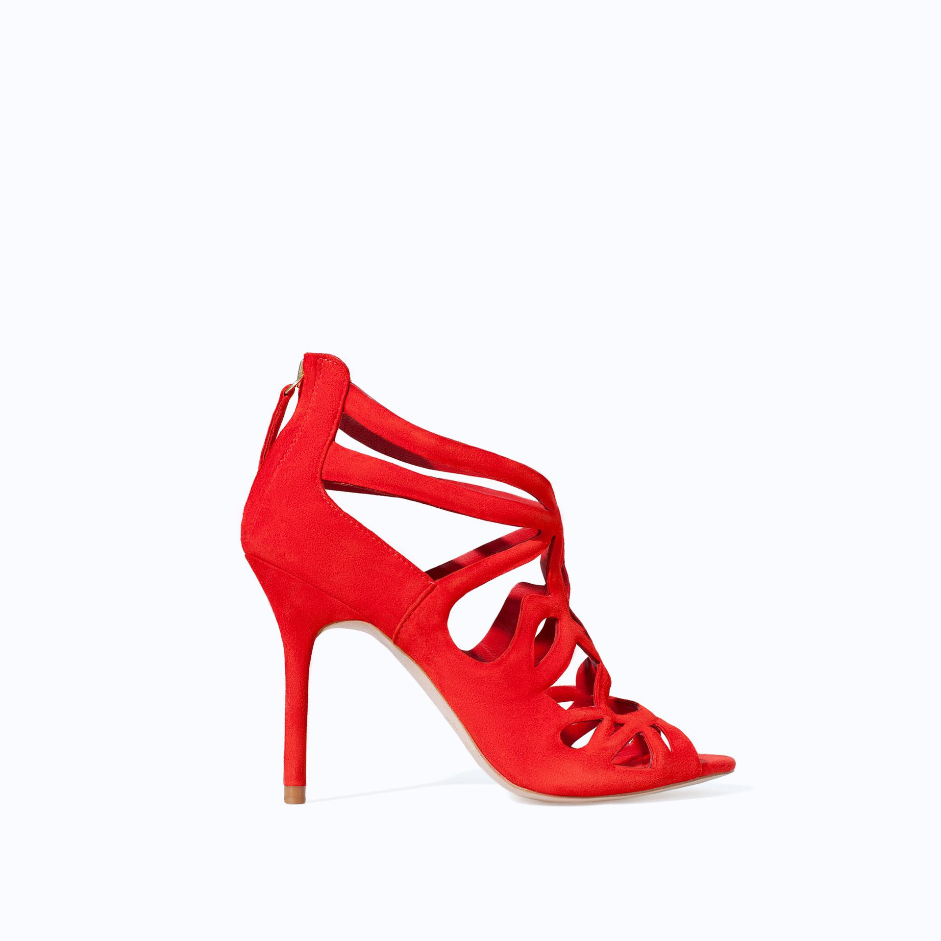 Zara High Heel Strappy Sandal In Red Lyst