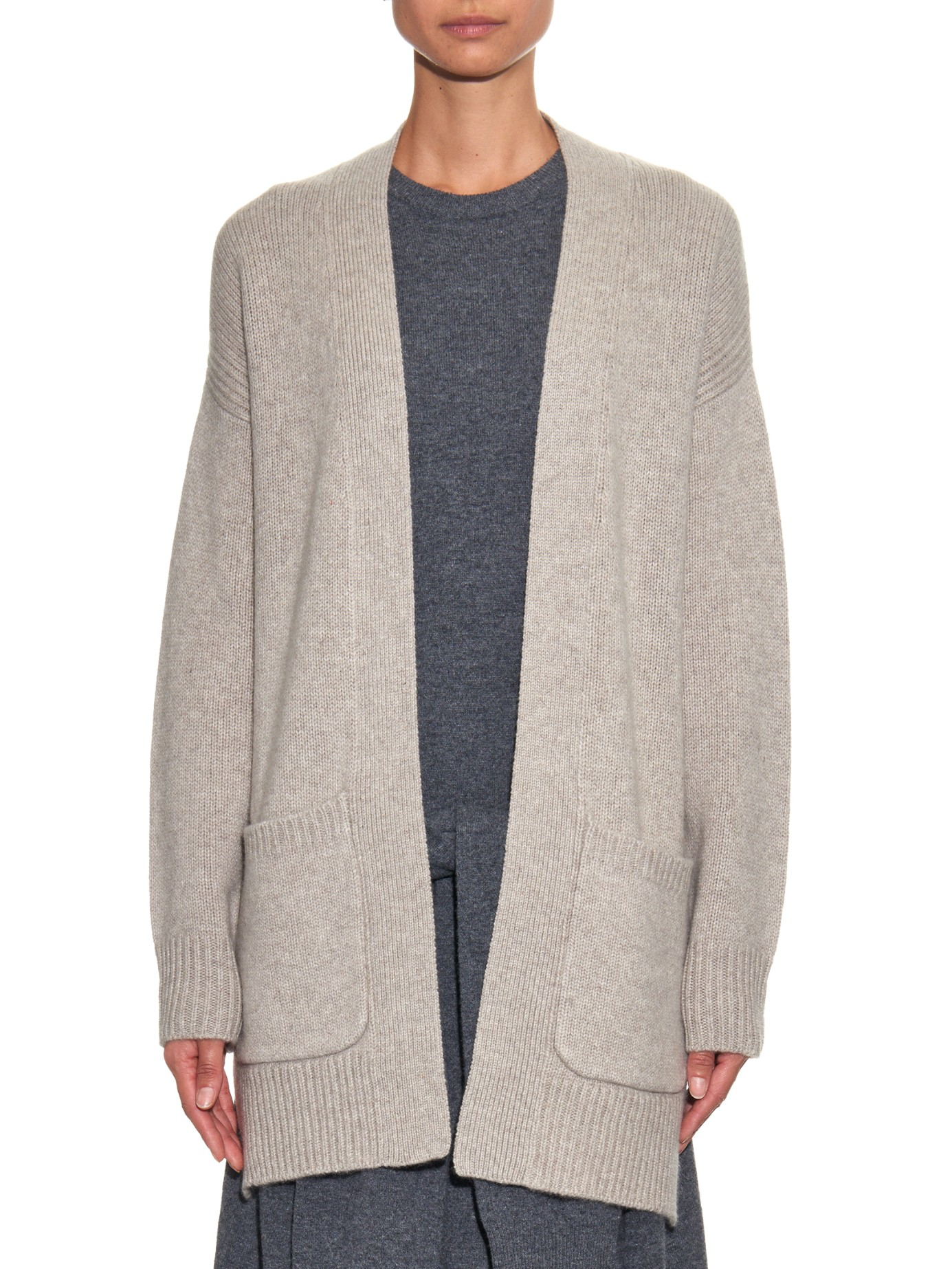 Joseph Open-front Cashmere Cardigan in Natural | Lyst