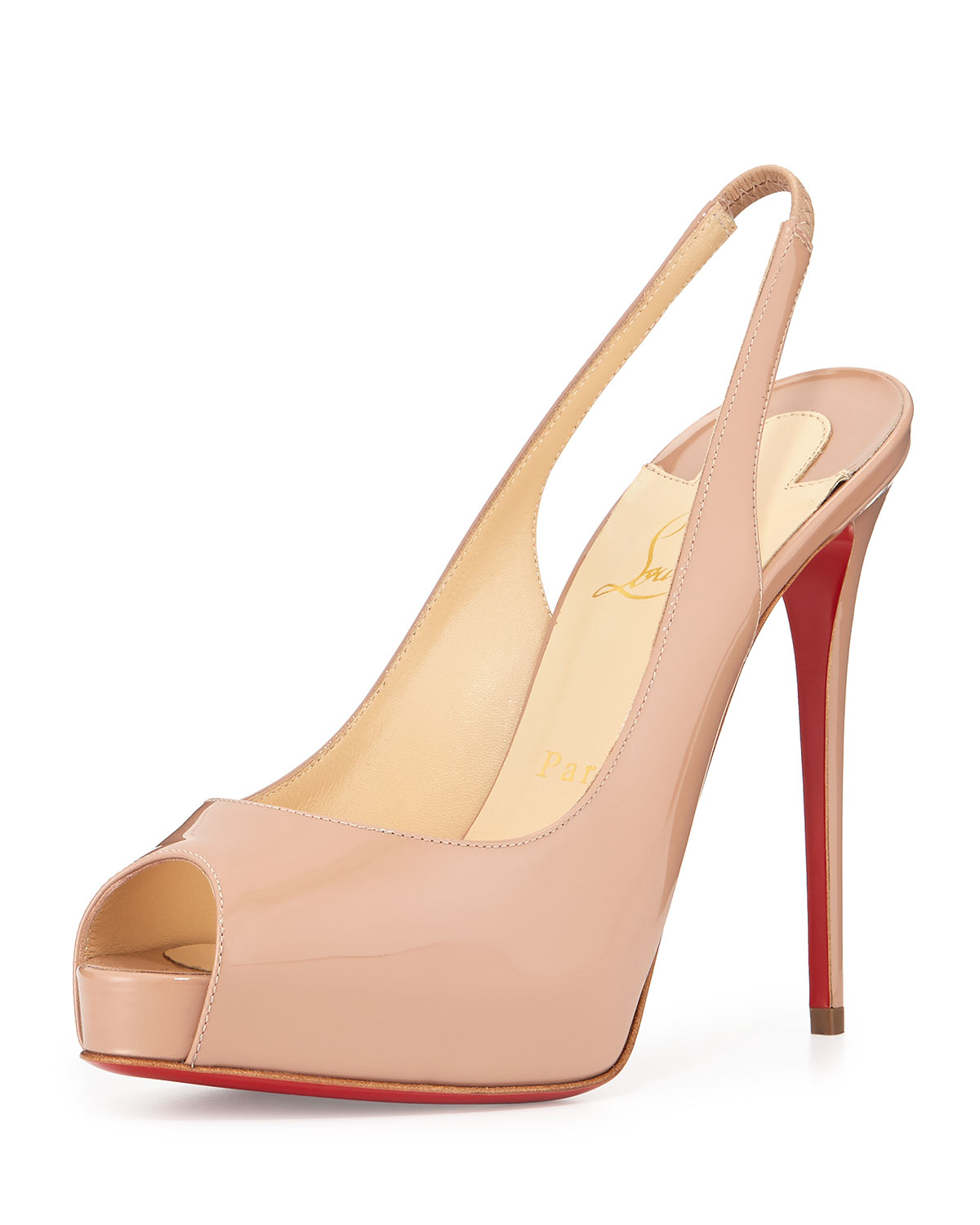 premium selection c32fe d84fd Christian Louboutin Natural Private Number Slingback