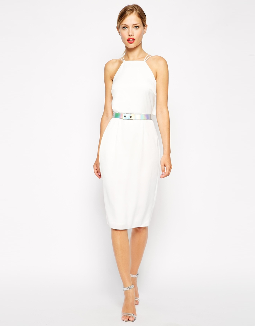 Lyst Asos Holographic Belted Midi Pencil Dress In White