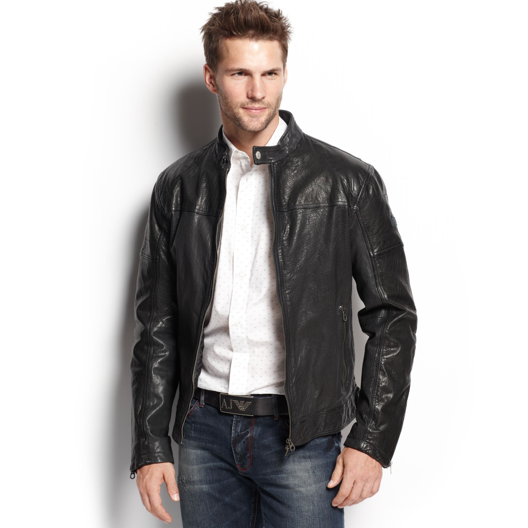 armani jeans leather bomber jacket in black for men lyst. Black Bedroom Furniture Sets. Home Design Ideas