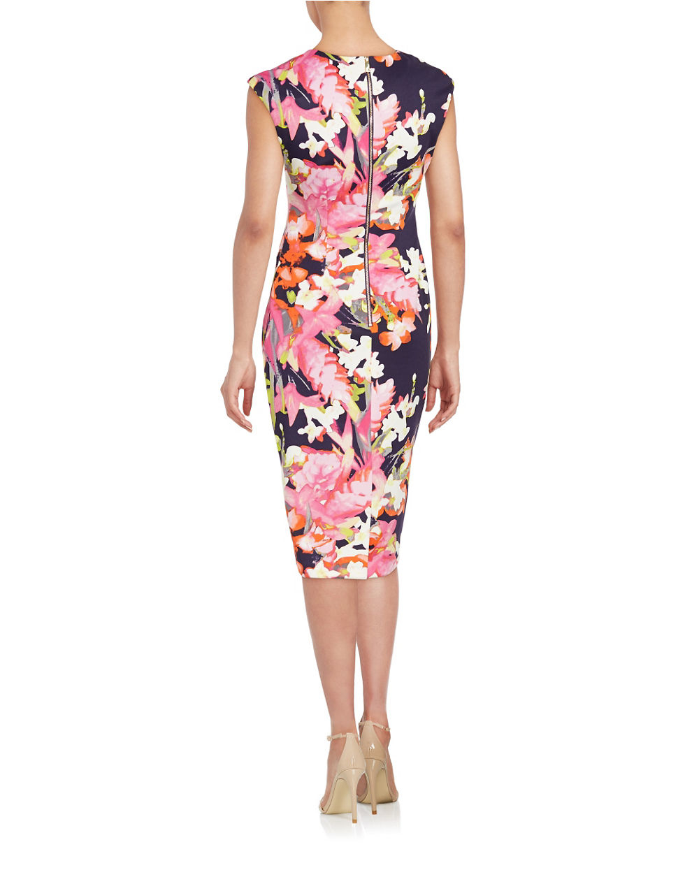 Vince Camuto Synthetic Boatneck Floral Dress In Navy