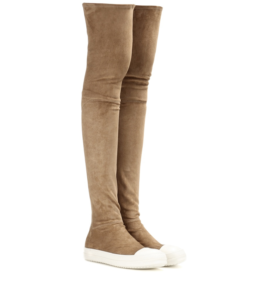 rick owens high sock the knee suede boots in brown lyst