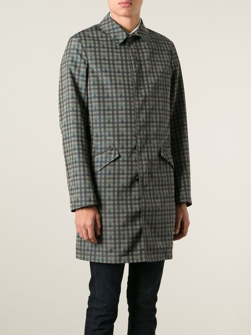 Etro Plaid Silk and Lambskin Trench Coat for Men | Lyst