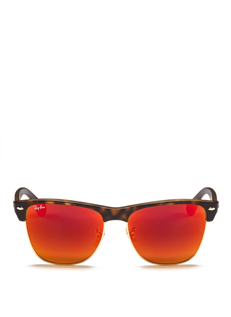 Ray-Ban 'Clubmaster Oversized' Matte Acetate Browline Mirror Sunglasses in Orange,Metallic (Orange)