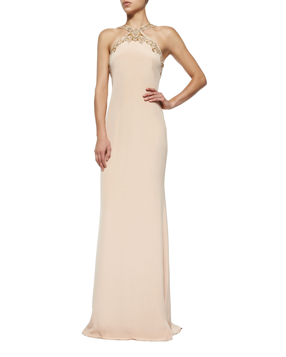 notte by marchesa embellished halter column gown in blue