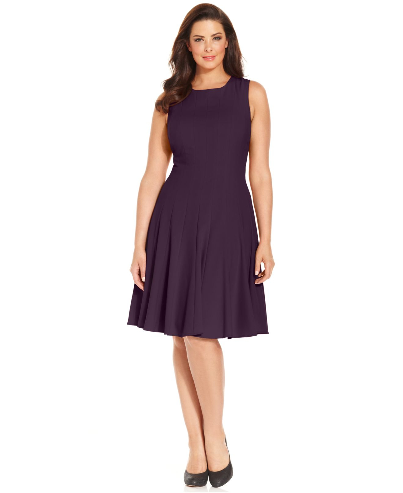 Calvin klein Plus Size Pleated A-Line Dress in Blue | Lyst