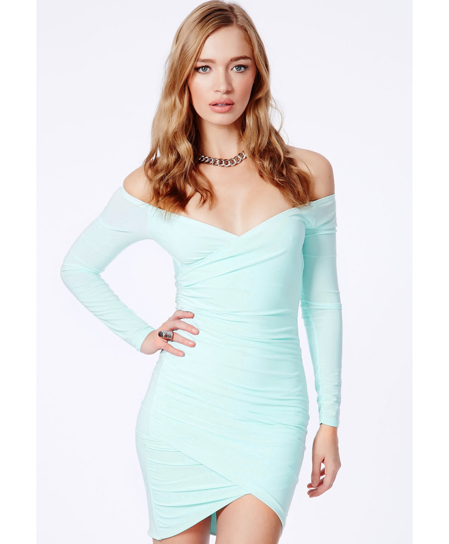 Missguided Lizzy Slinky Bardot Wrap Bodycon Dress In Mint