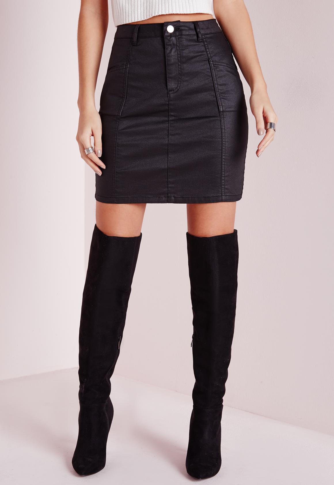 missguided coated denim mini skirt black in blue lyst