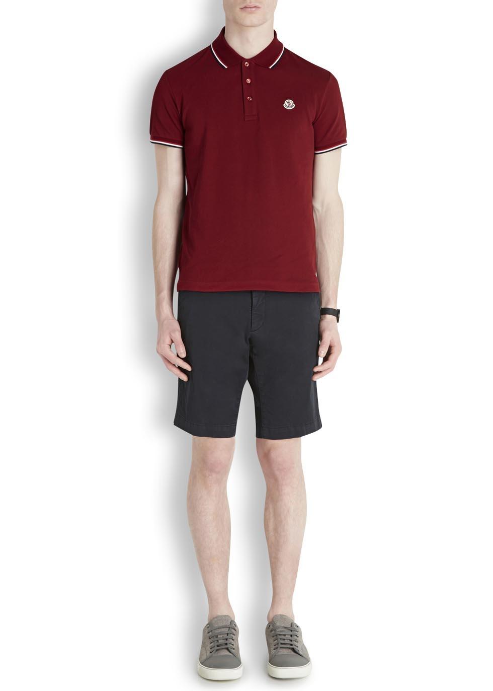 56477c9ce Moncler Bordeaux Piqué Cotton Polo Shirt in Purple for Men - Lyst